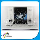 Soem begrüßte hölzerne materielle Uhr-acrylsauerbildschirmanzeige mit Marken-Firmenzeichen