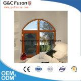 Ventana interior abierta del marco del aluminio de madera del grano