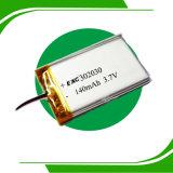 Prismatische Lithium-Ionplastik-Batterie 302030 3.7V 140mAh