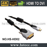 Высокоскоростной металл HDMI к кабелю DVI M/M с Nylon сетью