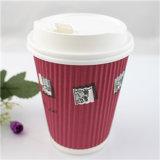 8oz Disposable Double Wall Paper Hot Coffee Cup con Lid