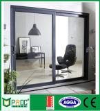 Porta deslizante dobro interior ou exterior de vidro Tempered com frame de alumínio