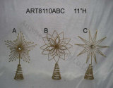 Feliz regalo de la tapa del árbol del metal de Chrismtas, decoración de la Asst-Navidad 4