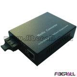 10/100 / 1000m Medios convertidor óptico de fibra doble 1X9 externa 20 kilometros