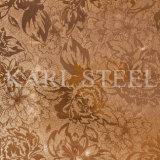 201 hoja grabada color de la plata del acero inoxidable Kem007