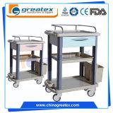 3 da clínica camadas do carro médico do trole com aço inoxidável do ABS de alumínio (GT-CT3101)