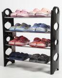 黒いカラーのプラスチックスタッキングの棚の安い靴ラック