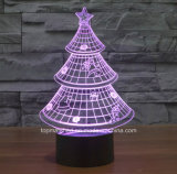 3D Illusion Night Light Chirstmas Tree Décoration intérieure Lampe de bureau