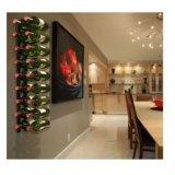 Décor de cuisine de maison de présentoir de support de stockage en rayons de vin de mur en métal de 18 bouteilles