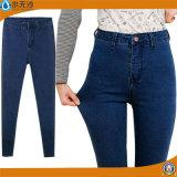 Kundenspezifische Dame-Marken-Form-dünne gerade Denim-Jeans