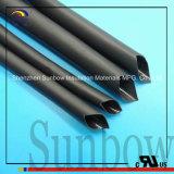 Tubo alineado pegamento suave del encogimiento del calor del negro de la poliolefina para la cuerda del alambre