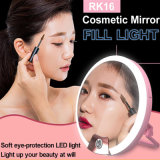 Multi-Function Rechargeable Ring LED Selfie Light com lanterna espelho (RK16)