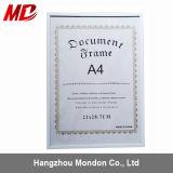 A4証明書の写真映像アルミニウムスナップフレーム、ポスター表示フレーム、アルミニウムクリップフレーム