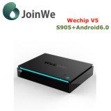 Wechip V5 인조 인간 6.0 마시맬로 고정되는 최고 상자 Amlogic S905X Ott 텔레비젼 상자