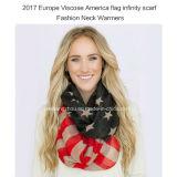 2017 Dame Fashion Infinity Scarf met Verwarmingstoestel van de Hals van Amerika het Vlag Afgedrukte