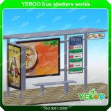 Aluminiumbusbahnhof-Schutz mit dem Bekanntmachen der doppelten mit Seiten versehenes heller Kasten-Edelstahl-Bushaltestelle