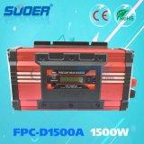 Suoer 1500W 12V 220V inteligente del inversor puro de la potencia de onda de seno de la red con la visualización del LCD (FPC-D1500A)