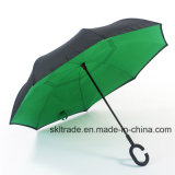 Зонтик двойного слоя портативный прямой обратный перевернутый для автомобиля