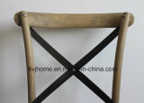 Vintage de madera de roble de metal cruz de vuelta comedor silla (UF-205)