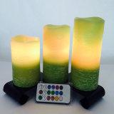 Vela sin llama del pilar verde LED para la boda y la decoración casera