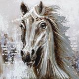 Pintura al óleo animal del caballo blanco
