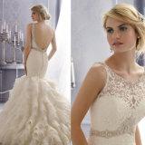 Luxuxbateau-Stutzen-Sleeveless Spitze-Rüsche-Nixe/Trompete-Hochzeits-Kleid