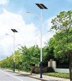 Luz de calle solar blanca pura con poste de acero