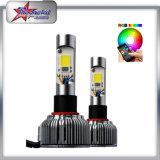 고성능 12V 24V 36W 3600lm 6000k V18 H4 자동 LED 빛, Bluetooth 통제를 가진 H7 RGB LED 차 빛