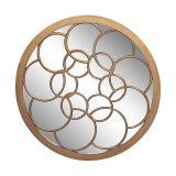 Glace en bois antique ronde de miroir d'art de mur de bâti de miroir