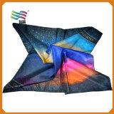 Form-Zoll gedruckter quadratischer dekorativer Silk Hauptschal (HYS-AF005)