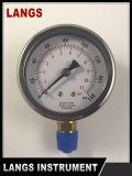 Tipo petróleo inferior del calibrador de presión de la conexión de 63m m - calibrador llenado de 080 Langs Wika