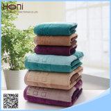 T-075 100%年の綿のしまのある綿表面または手タオル