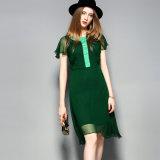 대조 색깔 Collar&Front 비행거리를 가진 여자를 위한 녹색 실크 복장