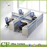 Table de travail de bureau moderne avec partition d'écran en verre