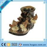 Artículos de decoración de jardín de Polyresin Zapatos de resina con rana