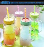 Maurer-trinkendes Glas mit Griff-Kappen-Stroh