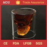 Taza doble cristalina de consumición de cristal del vidrio de vino del cráneo de la pared