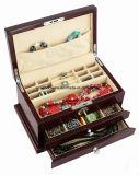 Boîte-cadeau de empaquetage en bois de mémoire de bijou/bijou de fini à haute brillance de piano de bois de rose avec le tiroir