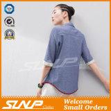 OEMの製造業者の女性の高品質のボタン前部Tシャツ