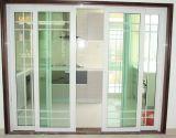 Puerta deslizante de aluminio de la rotura termal blanca del color con diseño de la parrilla