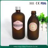 Круглая ясная янтарная фармацевтическая бутылка сиропа стеклянной бутылки с крышкой