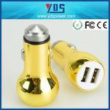 Chargeur coloré 2.4A de véhicule du double USB en métal jaune
