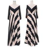 Zwei Farben Striped beiläufiges Frauen-Kleid mit V-Backless