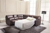 Base de couro de canto moderna do sofá