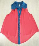 Шифоновая соединяя Swallow-Tailed глубокая рубашка V-Шеи