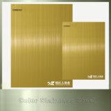 Золотистый лист нержавеющей стали волосяного покрова хорошего качества отделкой
