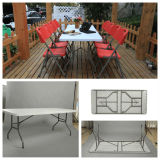 Tableau rectangulaire pliable en plastique bon marché extérieur des meubles 200cm avec des chaises (soufflage de corps creux, campant, diner, partie, événements)
