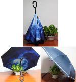 Parapluie droit renversé manuel de Double couche de véhicules de C de traitement extérieur de forme