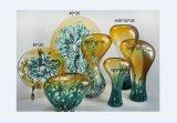 Artes decorativos de Murano de la pared amarilla de las placas de cristal