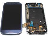 Pantalla táctil azul del LCD del reemplazo con el marco para Samsung S3